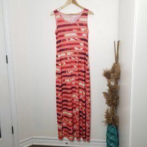 Apt 9 | Pink Striped Palm Tree Maxi Dress Size Med